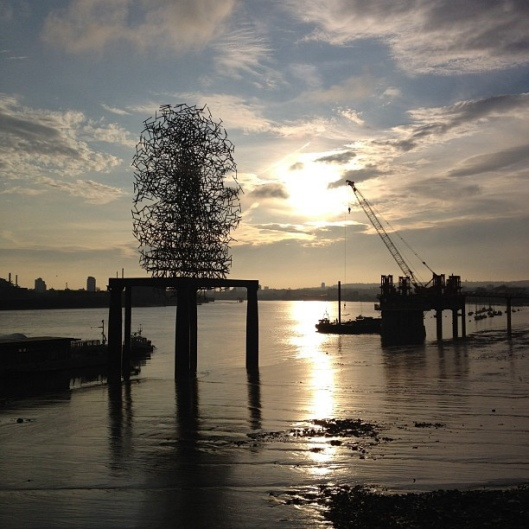 Antony Gormley's Quantum Cloud, at North Greenwich