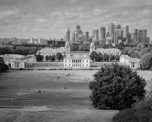 The view from Greenwich Park, Queen's House, Canary Wharf skyline