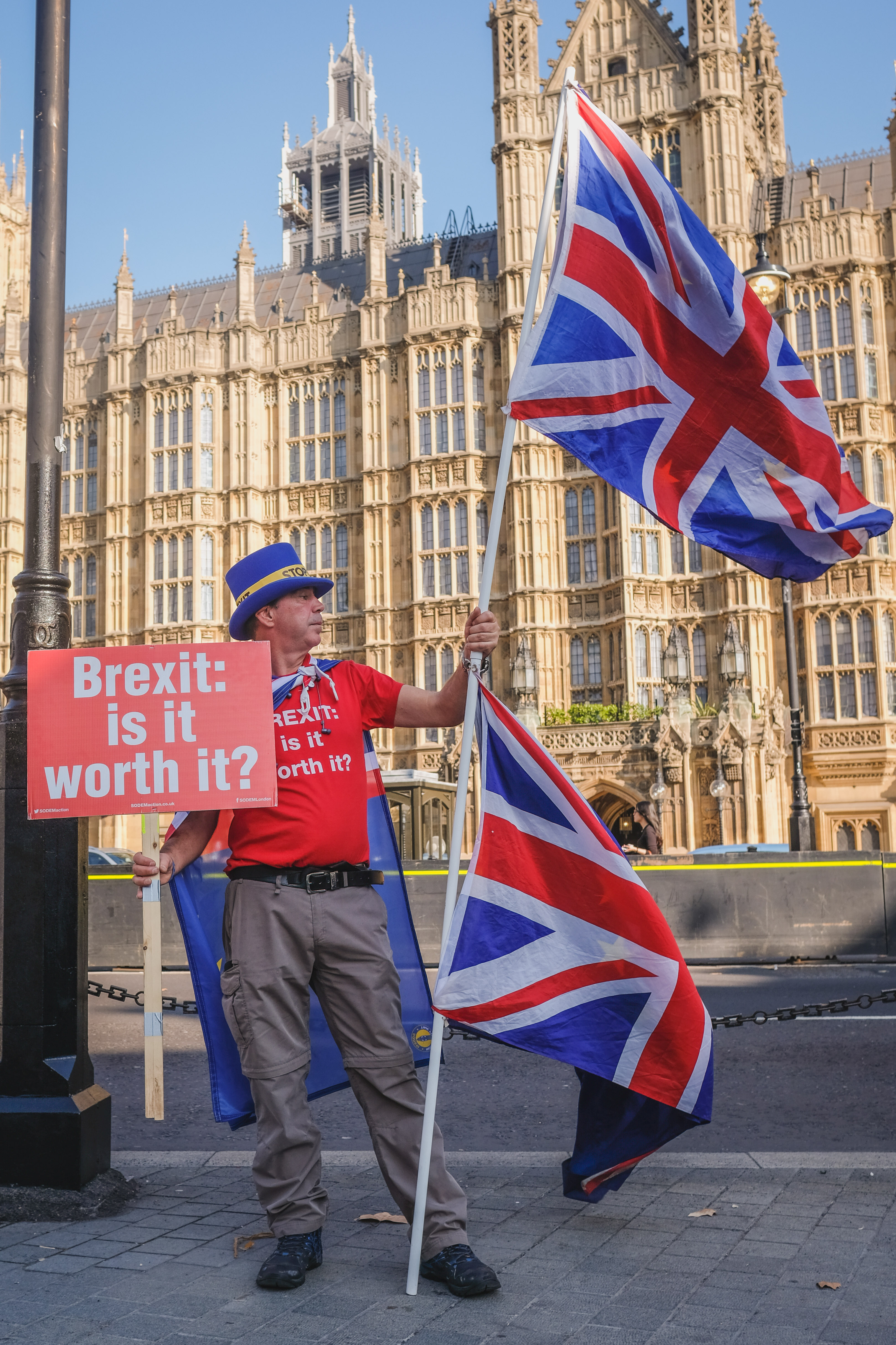 Anti-Brexit Campaigner outside the Houses of Parliament